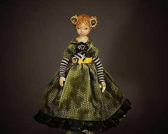 One Of A Kind art doll (OOAK), hand made by using Flumo