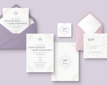 Faux Letterpress Elegant Wedding Invitation Front and Back Design