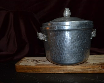 Vintage Hammered Aluminum Insulated Ice Bucket
