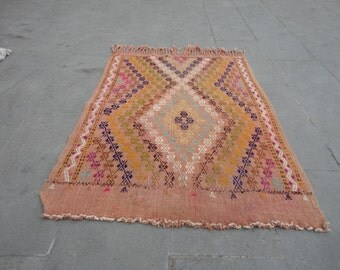Kilim rug,Geometric design rug,Kilim Turkish vintage oushak rug, dowry rug,textile art 45 x 32 inches,boho rug,hand woven and brocaded  rug
