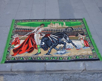 Vintage Turkish cotton wall rug,illustrated bullfighting in arena,54'' x 34'' inches
