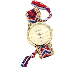 SoulSisters handmade wristwatch hippie style blue braided Red