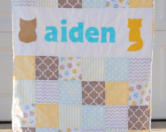 Custom Baby Quilt - MADE TO ORDER - Modern Baby Quilt - Patchwork - Applique - Fox, Owl - Custom Name - Animal