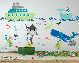 Tug Boat Adventures Nursery Wall Decal, Nursery Decals, Ocean Wall Decal,  Nursery Decor Part 95