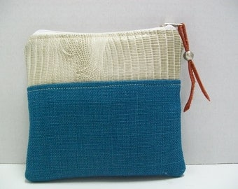 Pitchuka - Pouch - Zippered Pouch-Upholstery Pouch- Muslin -Turquoise-p6s