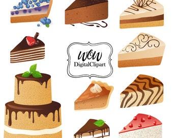 Digital cake, Cupcake clipart, dessert clipart, food clipart set, cake clipart set, scrapbooking clip, digital cupcake,pie clipart 0010
