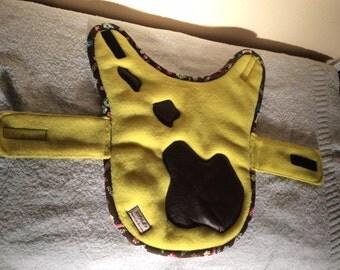 Small, reversible dog jacket.
