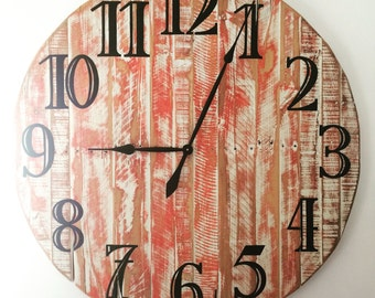 Large Handmade Pallet Wood Wall Clock - Red and White Rustic Finish