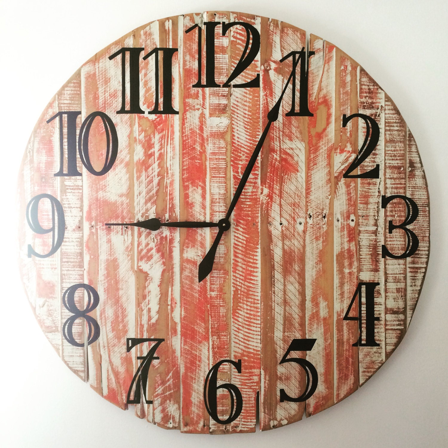 Large handmade pallet wood wall clock red and white rustic finish amipublicfo Image collections