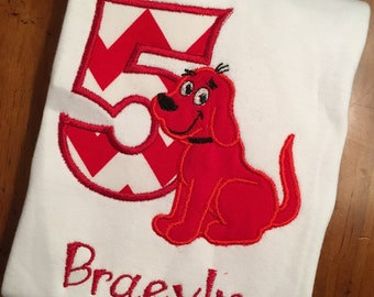Clifford the Big Red Dog Embroidered Applique Birthday Shirt