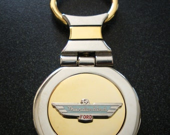 Ford Thunderbird 18K Gold Keychain with Silver Trim-Free Engraving