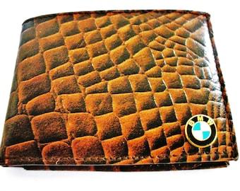 BMW Crocodile Faux Leather Men's Bifold Wallet