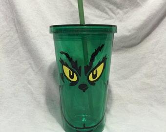 Grinch Tumbler/Grinch cup/Green tumbler