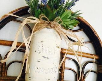 Distressed ivory mason jar