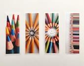 Set of 4 laminated photo bookmarks, color pencils mix