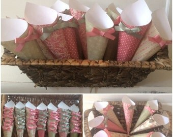 Confetti cones 40 dusky pink and sage green