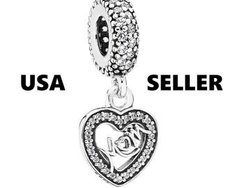 Authentic Pandora Mom Heart Love Dangle Charm