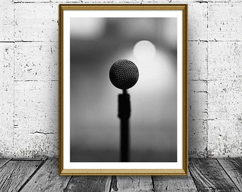 Microphone Print, Vintage Mic Photo, Black and White Microphone Poster, Singer, Vocalist Print, Minimal Print, Wall Art, Home Decor