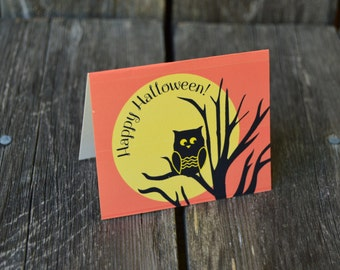 Halloween tent cards-Halloween place cards-Happy Halloween cards-owls-full moon