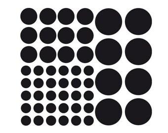 50 polka stickers, wall decal, vinyl, round sticker