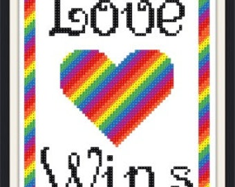 Love Wins cross stitch pattern