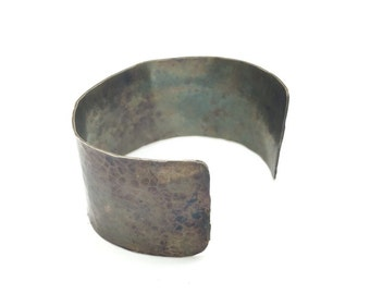 Extra wide silver oxidized hammered bangle, wide sterling silver bangle, silver black hammered bangle