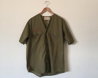 m/l official boy scouts button-up shirt