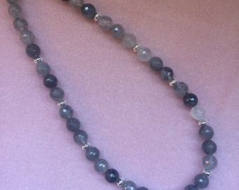 Cloudy Grey Quartz and Sterling Silver Necklace