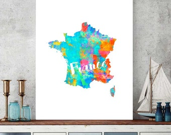 France Map, France Download, France Wall Art Decor, Watercolor Map Print, France Gift, Printable Map, French Theme Decor