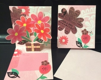 Pop Out Mini Greeting Card - Pink Flower