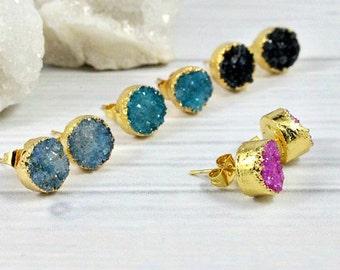 Druzy Stud Earrings, Druzy Earrings, Druzy Studs, Gold Druzy Earrings, Druzy Post Earrings, Raw Stone Earrings, Gold Stud Earrings, Gift