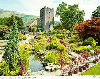 British Postcard, Grasmere Church, Lake District, England, 70s Postcard, Unposted, Die Cut, Travel Postcard