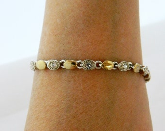 Rhinestone Tennis Bracelet, Vintage Bracelet, Silver Gold Tone, Clear Rhinestone, Delicate, Simple, Vintage Costume Jewelry