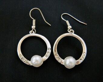 "Vintage Circle Hoop Rhinestone Faux Pearl Mod Earrings Silver Tone 1.75"" Free U.S. Shipping"