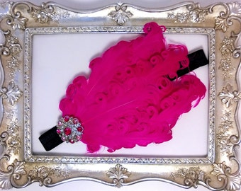 Infant/ Baby/ Headband/ Hot Pink Nagorie Feather Pad/ Hot Pink Feathers/ Black Headband/ Flapper Style Headband/ Newborn Photo Prop