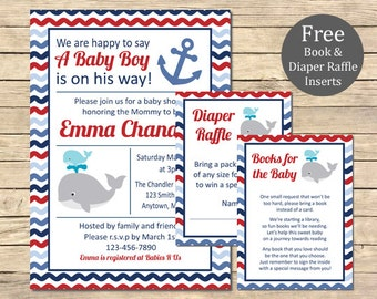 Whale Baby Shower Printable Invitation, Book Insert & Diaper Insert, Whale Nautical Baby Shower Invite Package, Navy Red, Download, 011-A