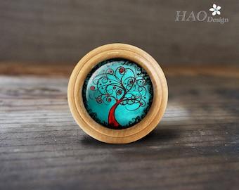 TREE OF LIFE-Wooden Domed Dresser knobs / Drawer Knobs Pulls Handles / Kitchen Cabinet Knobs Handle Pull /Dresser Drawer Knobs Pulls Handles