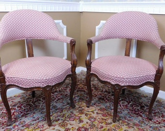 Pair Early 20th Century Carved Walnut Louis XV French Country Corner Armchairs