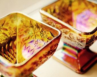 Amber Carnival Glass Diamond Shaped Bowls