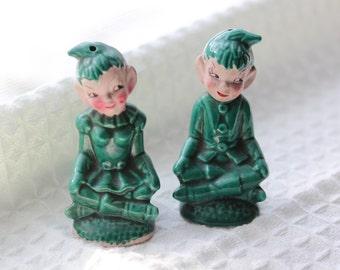 Vintage Gilner Green Pixie Salt and Pepper Shakers