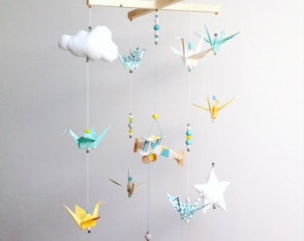 Mobile baby origami wood vintage
