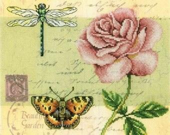 "Counted Cross Stitch Kit ""Postcard - Rose"" RTO"