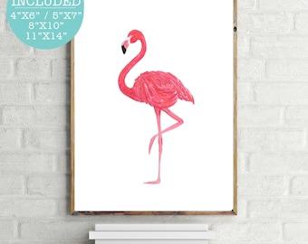 Pink Flamingo, Flamingo Print, Pink Flamingo Print, Pink Wall Art, Modern Wall Art, Trending Wall Print, Printable Flamingo, Watercolor