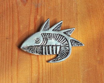 Brooch of a fish, 80s , silver-coloured metal
