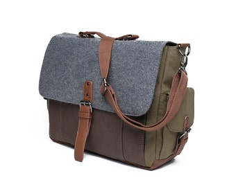 Tri-Color Canvas and Wool Messenger Bag in Brown/Grey/Olive (SS707)