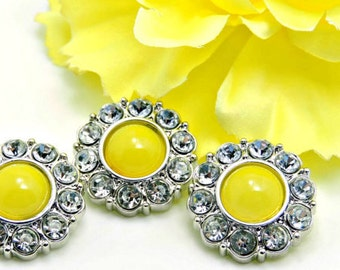Wholesale Shiny Lemon Yellow Acrylic Pearl Buttons W/ Clear Surrounding Rhinestones Buttons DIY Embellishments Coat Buttons 25mm 2997 48P 2R