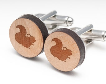Chinchilla Wood Cufflinks Gift For Him, Wedding Gifts, Groomsman Gifts, and Personalized