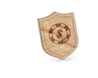 Poker Chip Lapel Pin, Wooden Pin, Wooden Lapel, Gift For Him or Her, Wedding Gifts, Groomsman Gifts, and Personalized