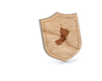 Oman Lapel Pin, Wooden Pin, Wooden Lapel, Gift For Him or Her, Wedding Gifts, Groomsman Gifts, and Personalized