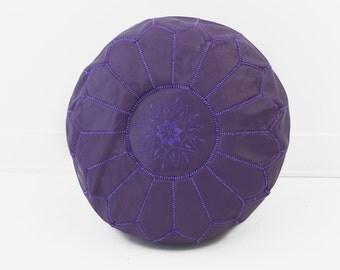 Moroccan Leather Pouf Ottoman, Purple